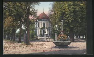 AK Biel, Fontaine devant Musee Schwab
