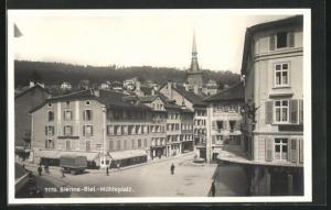 AK Bienne, Geschäfte und Hotel am Mühleplatz