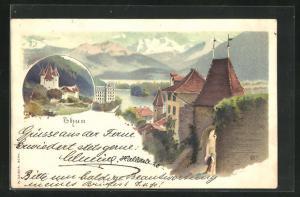 Lithographie Thun, Blick zur Burg, Eingang zur Burg