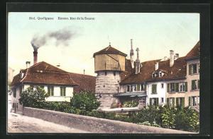 AK Biel, Häuser und Turm in der Quellgasse