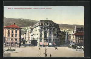 AK Biel, Geschäfte am Centralplatz-Nidaugasse