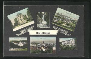 AK Biel, Museum, Kath. Kirche, Kurhaus Magglingen, Totalansicht
