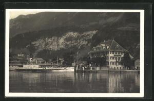 AK Iseltwald, Dampfer Jungfrau am Strandhotel