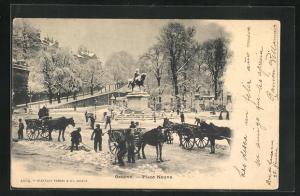 AK Geneve, Männer schippen Schnee am Place Neuve