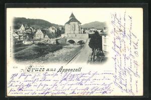 AK Appenzell, Ortsansicht mit Blick auf die Abside der Kirche