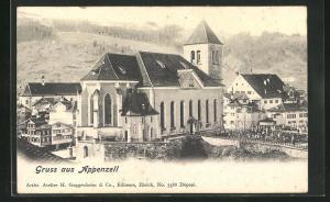 AK Appenzell, Blick zur Kirche