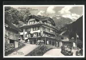 AK Spiringen, Klausenstrasse, Fussweg nach Urigen, Gasthaus St. Anton