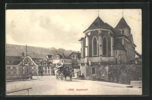 AK Appenzell, Ortsansicht mit Pferdekutsche