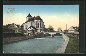 AK Appenzell, Ortsansicht mit Kanal