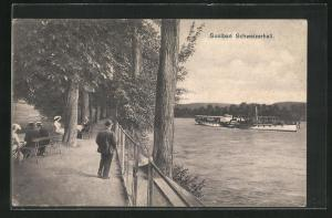 AK Schweizerhall, Uferpartie mit Dampfer