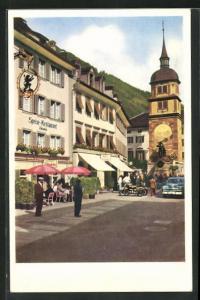 AK Altdorf, Partie am Restaurant Tellenbräu mit Tellendenkmal