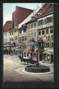 AK Stein am Rhein, Bemalte Häuser am Rathausplatz