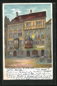 Lithographie Stein am Rhein, Gasthof zur Sonne am Rathausplatz
