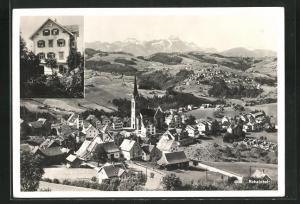 AK Rehetobel, Ortsansicht aus der Vogelschau, Blick auf ein Haus