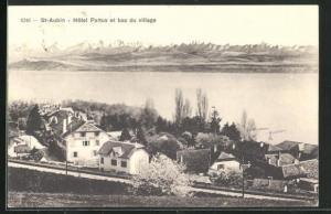 AK St-Aubin, Hotel Pattus et bas du village, Alpen