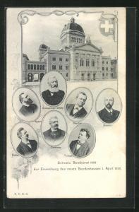 AK Schweiz, Schweiz. Bunddesrat 1902, Zur Einweihung des neuen Bundeshauses 1. April 1902, Portrait's