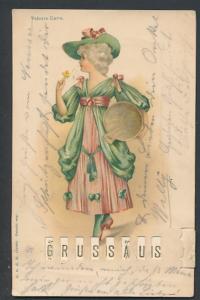 Mechanische-AK Schöne Frau im grünen Kleid mit Zuber, Schieber zum Wechseln der Botschaft