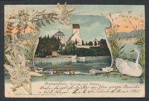 AK Romanshorn, Schloss und Kirche, getrocknetes Edelweiss