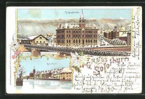 Winter-Lithographie Solothurn, Blick zum Postgebäude