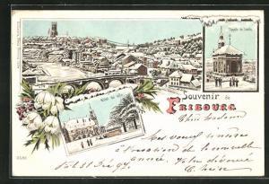 Winter-Lithographie Fribourg, Hotel de Ville, Chapelle de Loretto