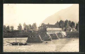 AK Buchs, Hochwasser am 25.9.1927, zerstörte Brücke