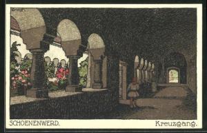Steindruck-AK Schoenenwerd, Kreuzgang der Stiftskirche