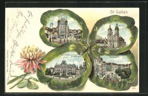 Passepartout-Lithographie St. Gallen, Ansichten auf Kleeblatt, Unionplatz, Marktgasse, Kathedrale