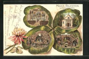 Passepartout-Lithographie Benken, Ansichten auf Kleeblatt, Maria Bildstein