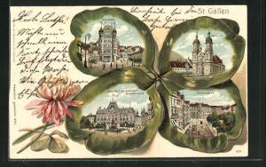 Passepartout-Lithographie St. Gallen, Ansichten auf Kleeblatt, Schweiz. Bankverein, Unionplatz, Marktgasse
