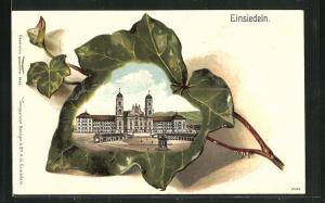 Passepartout-Lithographie Einsiedeln, Ansicht der Wallfahrtskirche auf Efeublatt
