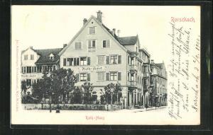 Relief-AK Rorschach, Blick auf das Rath-Haus