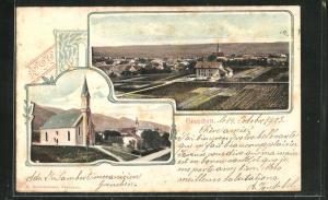 Relief-AK Grenchen, Blick auf die Kirche, Teilansicht vom Ort