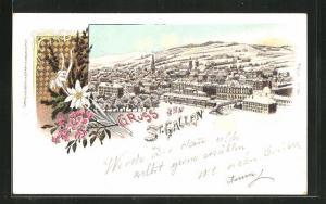 Winter-Lithographie St. Gallen, Panoramablick auf die Stadt