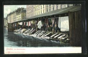 AK Genève, Les Blanchiseuses, Waschfrauen bei der Arbeit
