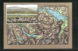 Relief-AK Lachen, Teilansicht vom Ort, Landkarte von Bodensee und Züricher-See mit Umgebung