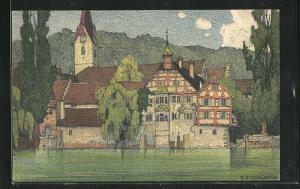 Künstler-AK Ernst E. Schlatter: Stein am Rhein, Kloster St. Georgen
