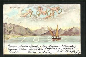 Lithographie Genf, Engel mit Jahreszahl 1900 über dem Genfer-See