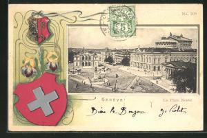 Passepartout-Lithographie Genève, La Place Neuve, Schweizer Wappen