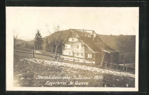 AK Eggersriet, Sturmkatastrophe 5. Januar 1919, Vom Sturm abgedecktes Haus
