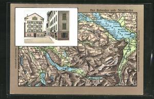 Relief-AK Lachen, Hotel Rössli, Landkarte vom Bodensee und Züricher-See mit Umgebung
