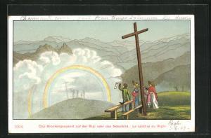 AK Rigi, Brockengespenst oder Nebelbild von Besuchern auf dem Gipfel