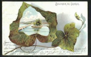 Passepartout-Lithographie Geneve, Teilansicht mit Brücke auf Efeublatt