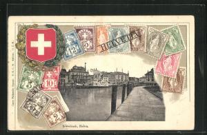 Präge-AK Rorschach, Partie am Hafen, Schweizer Briefmarken