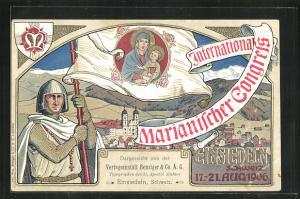 AK Einsiedeln, Internationaler Marianischer Congress 1906, Ritter schwenkt eine Fahne mit Maria und dem Kinde