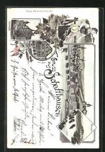 Vorläufer-Lithographie Schaffhausen, 1895, Ortsansicht, Blick auf Rheinfall, Oberstadt, Gasthaus zum Ritter