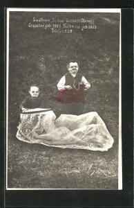 AK Sulzbach / Oberegg, Liliputaner Seppetoni geb. 1868 und Katharina geb. 1896, Gasthaus Falken
