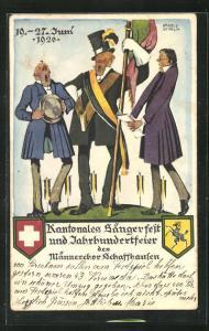 AK Schaffhausen, Kantonales Sängerfest des Männerchores Schaffhausen 1926, Männer stimmen ein Lied an, Wappen