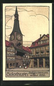 Steindruck-AK Solothurn, Platz am Zeitglockenturm