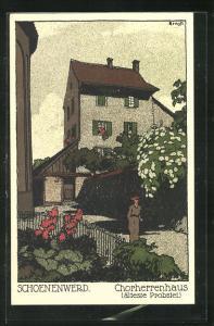 Steindruck-AK Schoenenwerd, Ortspartie am Chorherrenhaus
