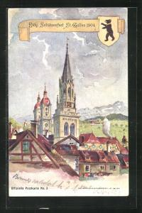 AK St. Gallen, Eidg. Schützenfest 1904, Ortspartie, Wappen